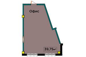 ЖК IT-парк Manufactura Next: планування 1-кімнатної квартири 39.75 м²