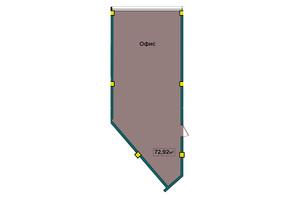 ЖК IT-парк Manufactura Next: планування 1-кімнатної квартири 72.92 м²