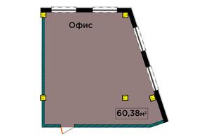 ЖК IT-парк Manufactura Next: планировка 1-комнатной квартиры 60.38 м²