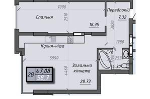 ЖК Iceberg 2: планировка 2-комнатной квартиры 58.7 м²