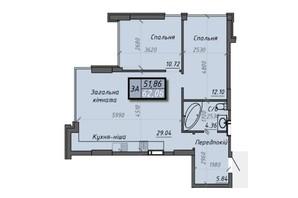 ЖК Iceberg 2: планировка 3-комнатной квартиры 62.02 м²