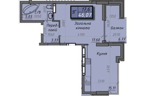 ЖК Iceberg 2: планировка 1-комнатной квартиры 46.07 м²