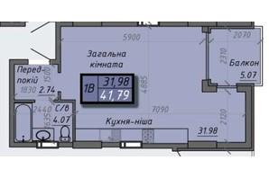 ЖК Iceberg 2: планировка 1-комнатной квартиры 41.79 м²