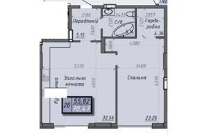 ЖК Iceberg 2: планировка 2-комнатной квартиры 70.47 м²