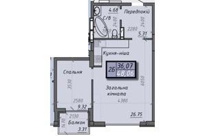ЖК Iceberg 2: планировка 2-комнатной квартиры 48.06 м²