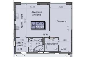 ЖК Iceberg 2: планировка 2-комнатной квартиры 66.93 м²