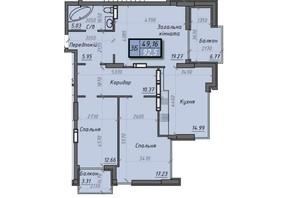ЖК Iceberg 2: планировка 3-комнатной квартиры 92.5 м²