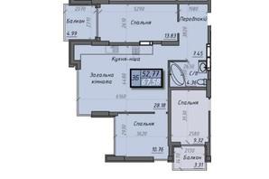 ЖК Iceberg 2: планировка 3-комнатной квартиры 67.58 м²