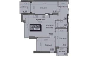 ЖК Iceberg 2: планировка 4-комнатной квартиры 84.69 м²