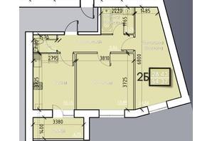 ЖК Iceberg: планировка 2-комнатной квартиры 54.37 м²