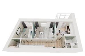ЖК Iceberg: планировка 2-комнатной квартиры 50.95 м²