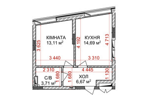 ЖК Ідеаліст: планування 1-кімнатної квартири 38.18 м²