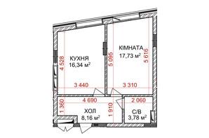 ЖК Ідеаліст: планування 1-кімнатної квартири 46.01 м²