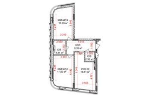 ЖК Ідеаліст: планування 2-кімнатної квартири 69.76 м²