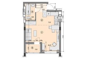 ЖК Ідея: планування 1-кімнатної квартири 33.89 м²