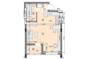 ЖК Ідея: планування 1-кімнатної квартири 35.16 м²