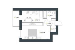 ЖК Idilika: планування 1-кімнатної квартири 36.77 м²