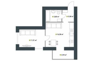 ЖК Idilika: планування 1-кімнатної квартири 38 м²