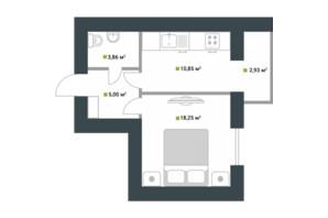ЖК Idilika: планування 1-кімнатної квартири 40.89 м²