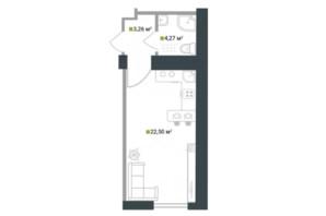 ЖК Idilika: планування 1-кімнатної квартири 30.03 м²