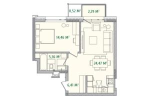 ЖК Illinsky House: планировка 1-комнатной квартиры 53.51 м²