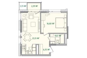 ЖК Illinsky House: планировка 1-комнатной квартиры 53.79 м²