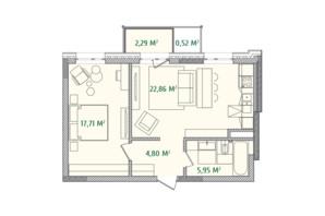 ЖК Illinsky House: планировка 1-комнатной квартиры 54.3 м²