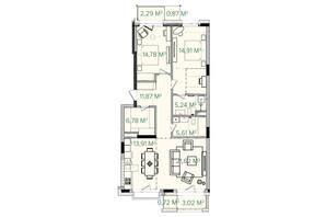 ЖК Illinsky House: планировка 3-комнатной квартиры 105.71 м²