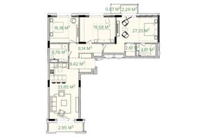 ЖК Illinsky House: планировка 3-комнатной квартиры 133.19 м²