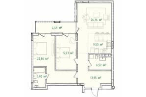 ЖК Illinsky House: планировка 3-комнатной квартиры 103.7 м²