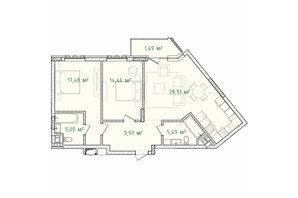 ЖК Illinsky House: планировка 2-комнатной квартиры 83.8 м²