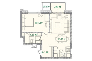ЖК Illinsky House: планировка 1-комнатной квартиры 53.87 м²
