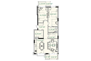 ЖК Illinsky House: планування 3-кімнатної квартири 105.71 м²
