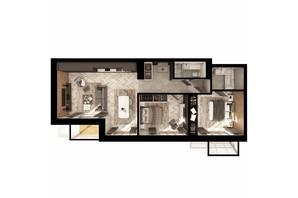 ЖК Illinsky House: планування 2-кімнатної квартири 88.8 м²