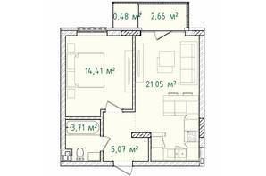 ЖК Illinsky House: планування 1-кімнатної квартири 47.38 м²
