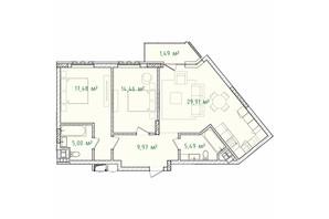 ЖК Illinsky House (Ильинский Хаус): планировка 2-комнатной квартиры 83.8 м²