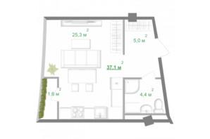 ЖК Intergal City: планировка 1-комнатной квартиры 37.1 м²