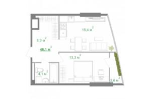 ЖК Intergal City: планировка 1-комнатной квартиры 46.1 м²