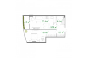 ЖК Intergal City: планировка 1-комнатной квартиры 52.8 м²