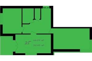 ЖК Італійський: планування 2-кімнатної квартири 66.09 м²