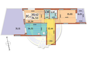 ЖК Італійський квартал: планування 2-кімнатної квартири 74.53 м²