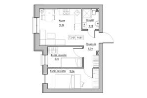 ЖК KEKS: планування 2-кімнатної квартири 40.61 м²