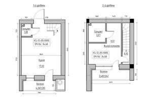 ЖК KEKS: планування 1-кімнатної квартири 34.68 м²