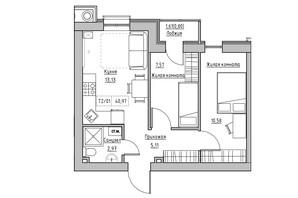 ЖК KEKS: планування 2-кімнатної квартири 40.97 м²