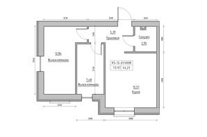 ЖК KEKS: планування 2-кімнатної квартири 44.23 м²