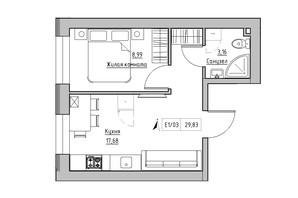 ЖК KEKS: планування 1-кімнатної квартири 29.83 м²