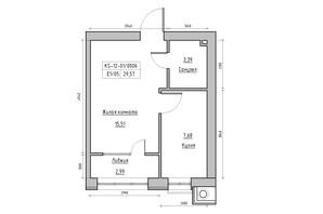 ЖК KEKS: планування 1-кімнатної квартири 29.57 м²