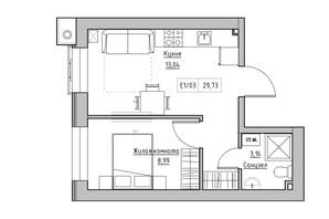 ЖК KEKS: планування 1-кімнатної квартири 29.73 м²