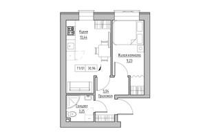 ЖК KEKS: планування 1-кімнатної квартири 30.96 м²
