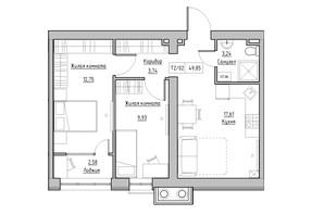 ЖК KEKS: планировка 2-комнатной квартиры 49.85 м²